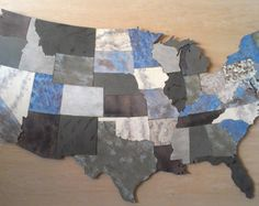 "Us Map Wall Art usa map metal wall art - 48"" wide - 3 separate pieces - choose"