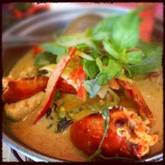 Chef Tui's Grilled Tiger Prawns w Green Curry at Jitlada Thai