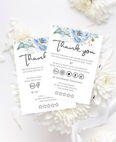 Blue Flower & Greenery Thank You Card, Small Business Floral Customer Thank You for Order, Editable Template Card. Small Business Cards, Business Thank You Cards, Craft Business, Business Card Design, Thank You Card Template, Thank You Card Design, Card Templates, Thank You Customers, Thank You For Order