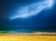 Landscape: Lush Lightning Over The Caspian Sea.  --This is ART.  beautiful.