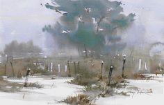 """Winter Garden The Fenway"" Gary Tucker watercolor"