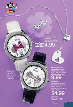 Mickey Mouse & Minnie Mouse watches available through AVON. www.youravon.com/valeriemiller