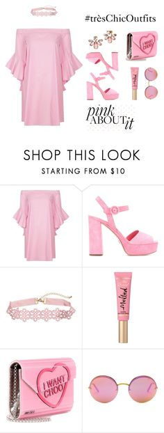 pink4 by tres-chic-by-paulina on Polyvore featuring moda, River Island, Prada, Jimmy Choo, Marchesa, B Brian Atwood and Too Faced Cosmetics