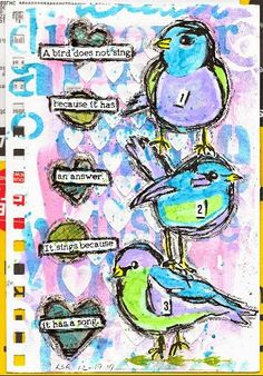 Lisa's Collage Stuff Blog: January Art Journal Page Swap - side two - Stacked Birds