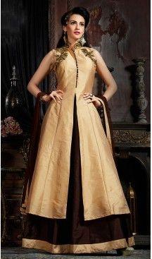 6684cdee30f549 Beige Color Silk Party Wear Gowns