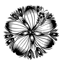 Decorative silhouette hibiscus vector by FlowersArtist on VectorStock®