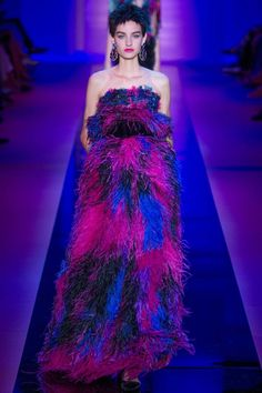 "Armani Privé - ""Mr. Armani took colorful couture to a whole new place with this feathered dream."""