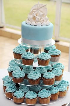 tiers of cupcake and only one cake - looks big but not as large as one that is all cake. Good idea.