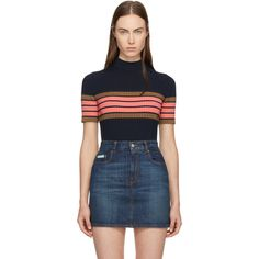 Alexachung Navy Striped Band T-Shirt ($335) ❤ liked on Polyvore featuring tops, t-shirts, navy, striped tees, blue striped t shirt, navy stripe tee, stripe tee and short sleeve t shirt