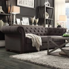 Tribecca Home Knightsbridge Dark Grey Tufted Scroll Arm Chesterfield Sofa
