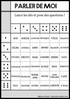Jeux avec des dés - a bit young for college students, but really nice premade… French Verbs, French Grammar, French Teaching Resources, Teaching French, How To Speak French, Learn French, French Conversation, French Worksheets, Material Didático