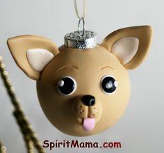 Chihuahua Round Tree Ornament Dog Breed Art. $22.00, via Etsy.
