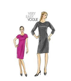 VOGUE DRESS PATTERN Day or Cocktail Dress Vogue 8529 Plus Size Misses Petite Womens Sewing Patterns Size 18 20 22 24 Bust 40 42 44 46 UNCuT by DesignRewindFashions on Etsy