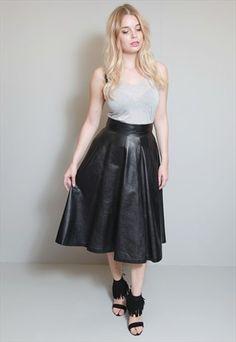 Vintage 1980's Soft Black Leather Flared Midi Skirt