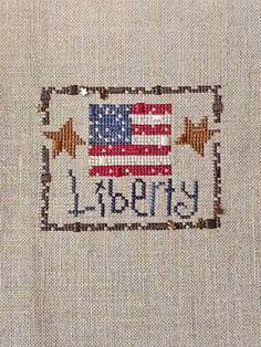 Liberty Zipper Bent Creek stitched on 28-ct. Raw Linen with DMC & WDW threads