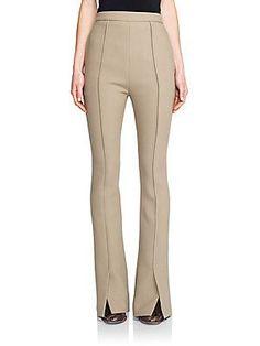 Marni Crepe Flared Virgin Wool Pants - Sand - Size 4