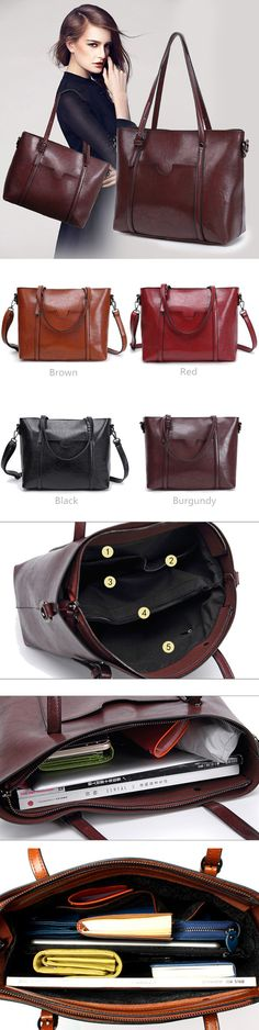 [$ 25.89]  Women Oil Leather Tote Handbags Casual Front Pockets Crossbody Bags Shoulder Bags