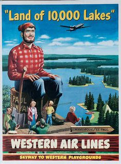 """Western Airlines - Minneapolis, """"Land of 10,000 Lakes"""""""