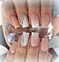 Nude and white acrylic nails