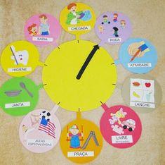 Gente olha esse relógio como é divertido e bem interessante!  Indica as atividades que serão executadas. ÓTIMO PARA A SALA DE AULA. VAMOS FA...