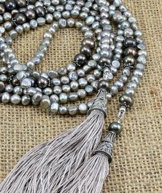 Lariat Necklace  Handmade Silk Tassels  Beige & by MMDJewellery... Loving this colour!
