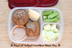 Whole Wheat Muffins, Horizon Organic Cheese Slices, Peanut Butter & Celery, Honeydew Melon Healthy School Lunches, School Lunch Box, Quick Healthy Meals, School Snacks, Whole Wheat Muffins, Easy Lunch Boxes, Whats For Lunch, Lunch Snacks, Kid Lunches