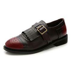 Zapatos de mujer Semicuero Tacón Plano Comfort/Punta Redonda/Punta Cerrada Oxfords Casual Marrón/Rojo – MXN $ 354.94