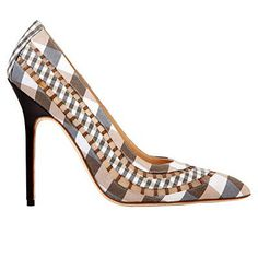 Tan, gray and white heels from Sarah Jessica Parker's shoe line.