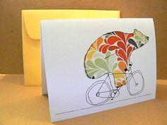 Bear On Bike - 6 Card Stationary Set - Blank Inside. $12.00, via Etsy.
