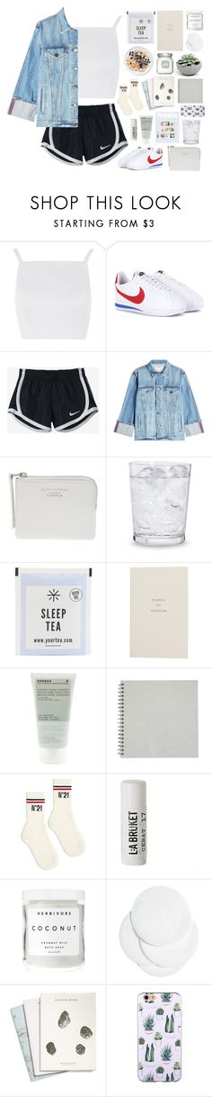 """""""crush"""" by pistachios ❤ liked on Polyvore featuring Topshop, NIKE, Frame, The Webster, Schott Zwiesel, Smythson, Korres, N°21, L:A Bruket and Herbivore"""