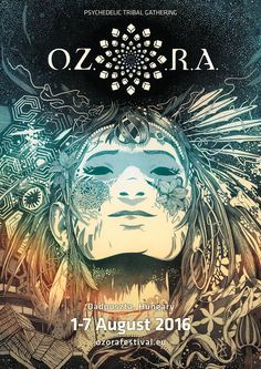 O.Z.O.R.A is a well known psychedelic festival. It takes place each year in the month of August at the town of Ozora, Hungary.It's a hand drawn poster made by black ink. It was digitally colored after the high resolution scan.