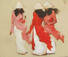 Young girls in Red - Oil on Canvas painting by Vietnamese Artist Nguyen Thanh Binh