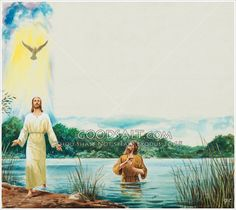 The angel Gabriel tells John that Jesus would be baptized in the River Jordan The Holy Spirit would descend from heaven upon Jesus to anoint his ministry. Border panel style illustration.