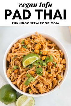 Try this tofu pad Thai for a vegan twist on the classic Thai dish. This recipe can be made in about 30 minutes for an outstanding homemade meal that's sure to be a hit! Vegan Meal Prep, Vegan Dinner Recipes, Vegan Recipes Easy, Brunch Recipes, Real Food Recipes, Vegetarian Recipes, Tofu Recipes, Vegan Meals, Tofu Pad Thai