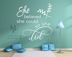 Wall Decals She Believed She Could So Etsy inspirational wall decals - Inspirational Quotes Inspirational Wall Decals, Inspirational Quotes, Vinyl Wall Decals, Wall Stickers, Custom Canvas Prints, She Believed She Could, Family Wall, Perfect Gift For Her, Wall Quotes