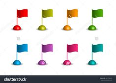wavy flags in different colors on the white background