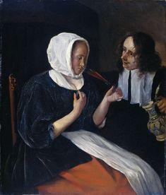 Een drinkend paar, Jan Havicksz. Steen, 1660 - 1679