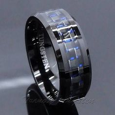 Men's Tungsten Ring With Carbon Fiber 8mm Black And Blue Wedding Band Size 6-14