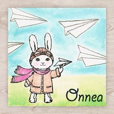 Lentäjä Origami Plane, Watercolor Cards, Sonic The Hedgehog, Pikachu, Bunny, Stamp, Fictional Characters, Art, Rabbit