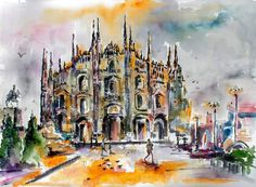 Hurry 2 days only 30% Off this large watercolor and ink original painting Use discount code MILAN ends Oct, 28th midnight. Get it now. https://ginettecallaway.com/products/milan-italy-duomo-cathedral-original-watercolor-ink-22-by-30-inch-by-ginette #milan #watercolor #painting #duomo