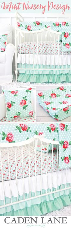 How adorable is this mint crib set? It has that adorable modern vintage feel that's just perfect for a baby girl's room.  Great inspiration for your mint nursery.