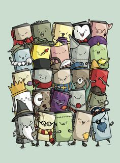This makes the bookworm in me SO happy! There's Little Red Riding Hood, Jurassic Park, The Adventures of Winnie the Pooh, Dracula, Charlotte's Web, Hamlet... So many excellent stories! I daresay, I need this print.