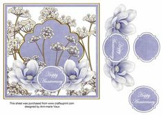 Blue Magnolia Happy Anniversary 7in Time Flower Topper on Craftsuprint designed by Ann-marie Vaux - I have designed this topper for your 7inch x7inch square cards and as a 3 layer decoupage. It is a easy decoupage sheet to make but looks fantastic. Simply cut out the base image and then the layers, using 3D foam or silicone glue, build the layers up. I have made a few different colourways in this design so please check the multi-link. - Now available for download!