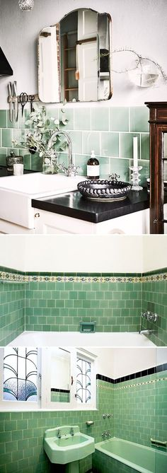 transito inicial. homes from the 30's, 40's and 50's, often have really colorful tile in both bathrooms and kitchens. i've had my share of funky color combos in rental apartments — from a pink & baby