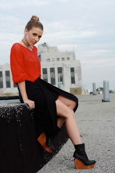 """Brick Red Vintage Sweaters, Black Jeffrey Campbell Boots   """"the ..."""