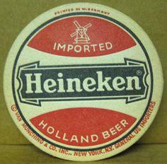 HEINEKEN IMPORTED HOLLAND BEER Old COASTER, Mat with WINDMILL, NETHERLANDS | eBay