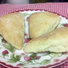 I've seen several recipes for biscuits made with cream instead of shortening and milk, and was curious how these would turn out. So I experimented with cream and some scones, and came up with this. They are very fluffy and light - and simple to do.