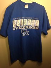 "University of Kentucky Wildcat t-shirt, ""history does repeat itself"", blue, med,"