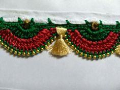 Saree Tassels Designs, Saree Kuchu Designs, Blouse Designs Silk, Kurti Neck Designs, Crochet Boarders, Crochet Lace Edging, Saree Border, Thread Jewellery, Hand Embroidery Designs