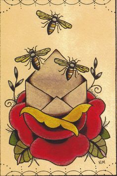 Bee Envelope Tattoo Flash print by UnderHisWing on Etsy